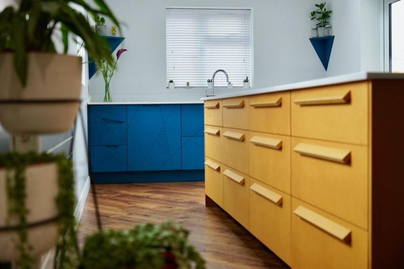 Yellow valchromat kitchen design