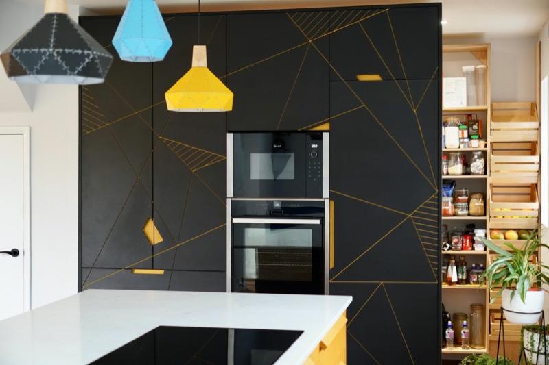 black and yellow valchromat kitchen larder