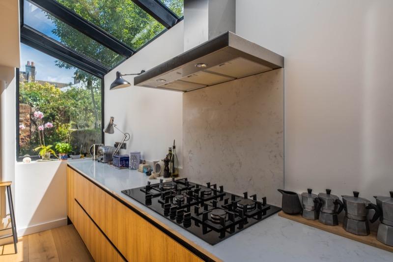 side terrace oak kitchen