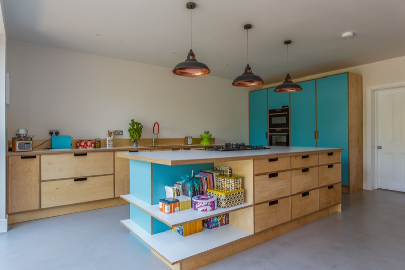 raw birch ply and formica kitchen
