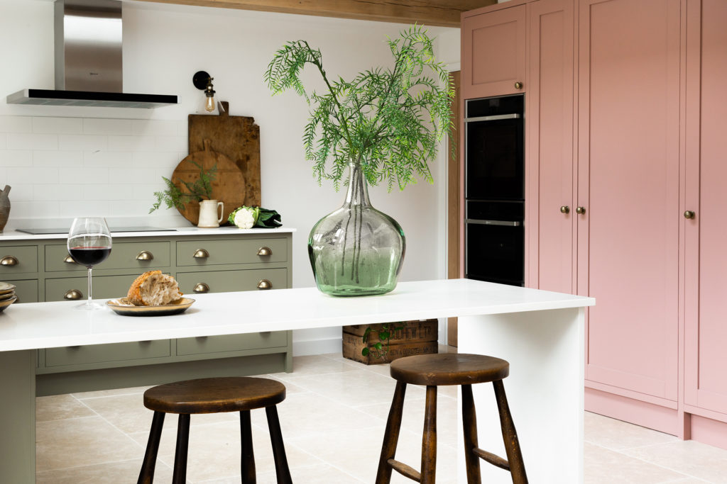 Hand painted green and pink luxury modern shaker kitchen