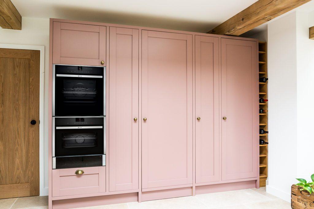 Large pink kitchen larder