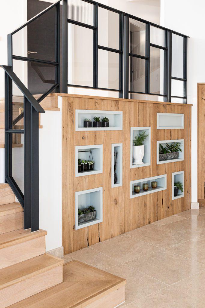 Reclaimed oak display unit in a kitchen