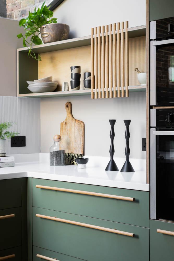 Long oak handles-forgo kitchen-fluted oak-oak dowel cabinet
