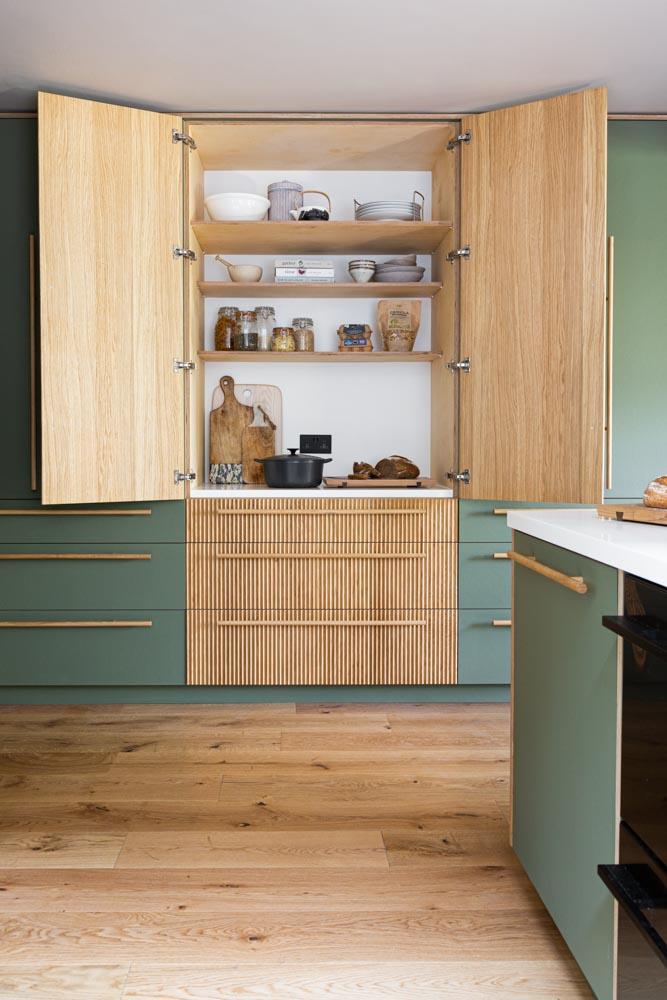 Long oak handles-forgo kitchen-fluted oak larder