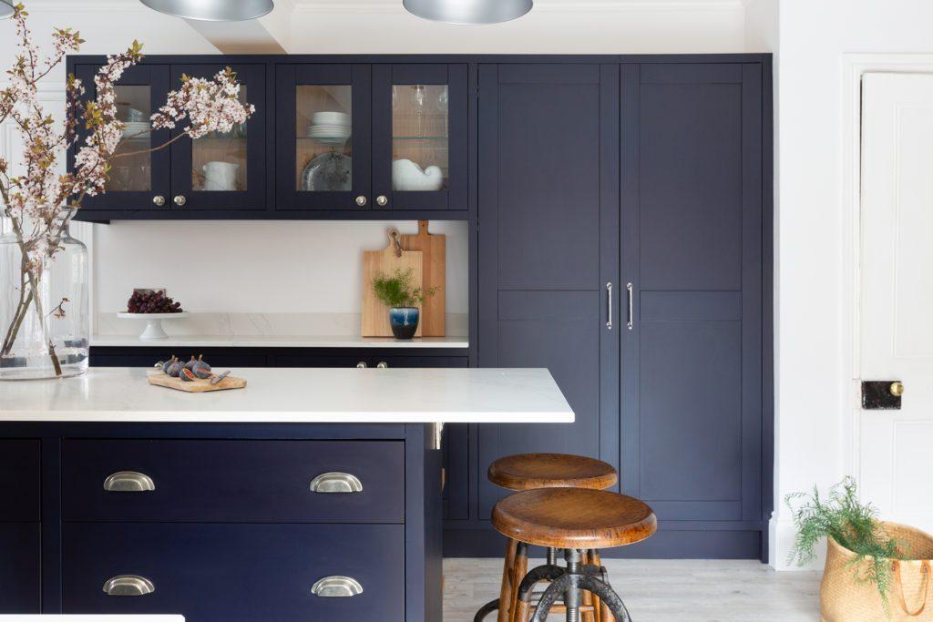 deep blue modern in frame shaker kitchen