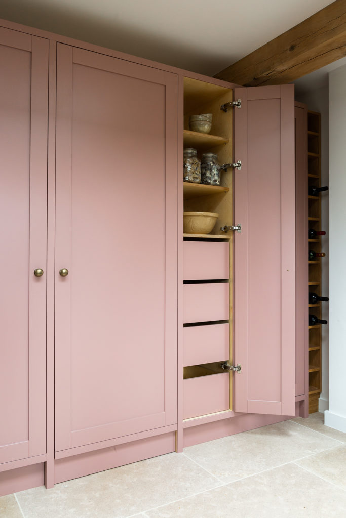 Pink kitchen larder
