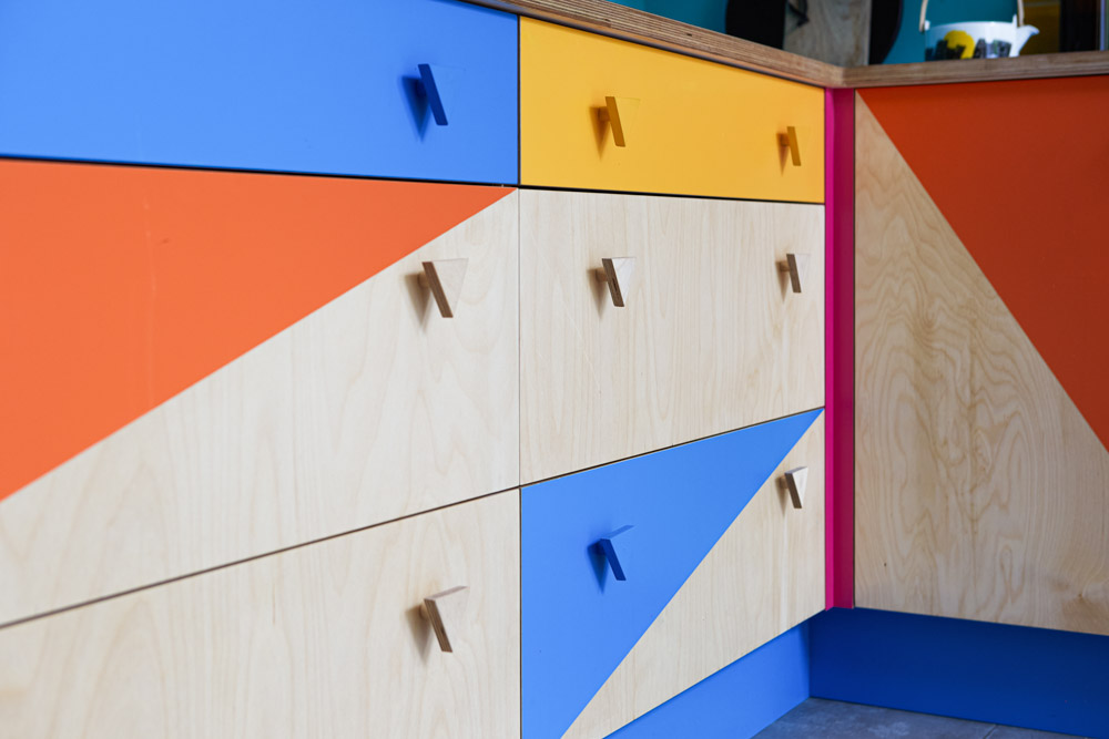 Colourful kitchen drawers