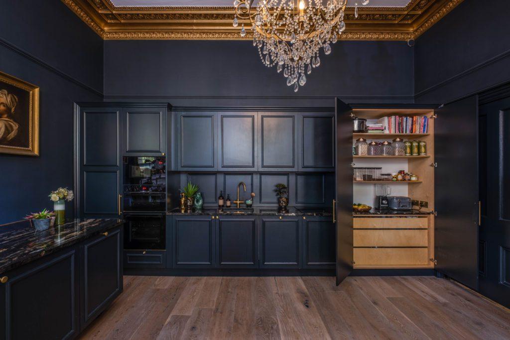 kitchen pantry ,Dark panelled kitchen