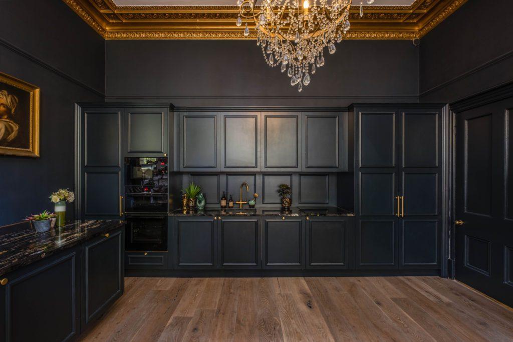 Tall ceiling grand kitchen, Dark panelled kitchen