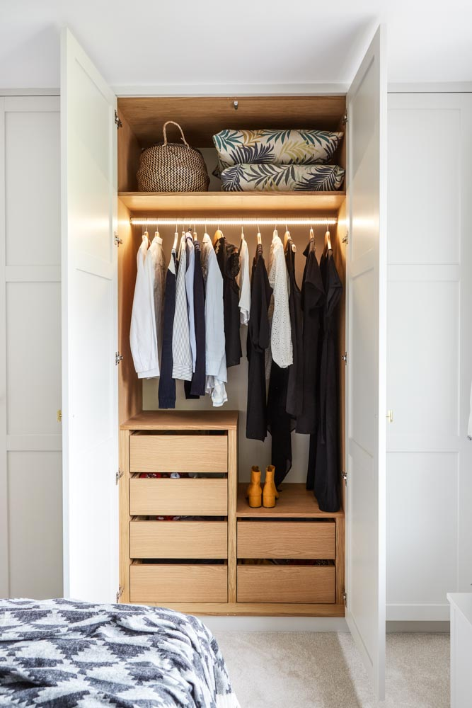 Paneled shaker wardrobe internal wardrobe with lights